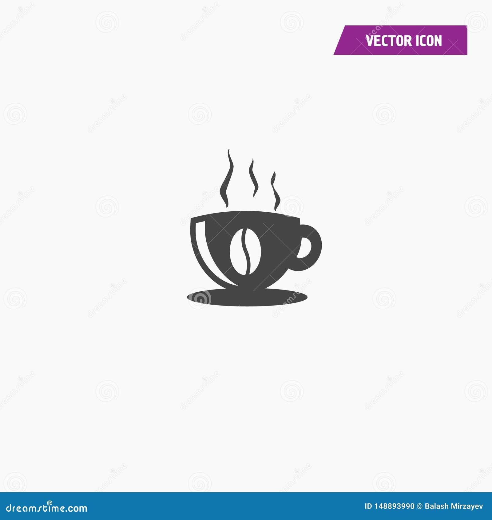 Enegreça o ícone liso do copo de café com feijão de café