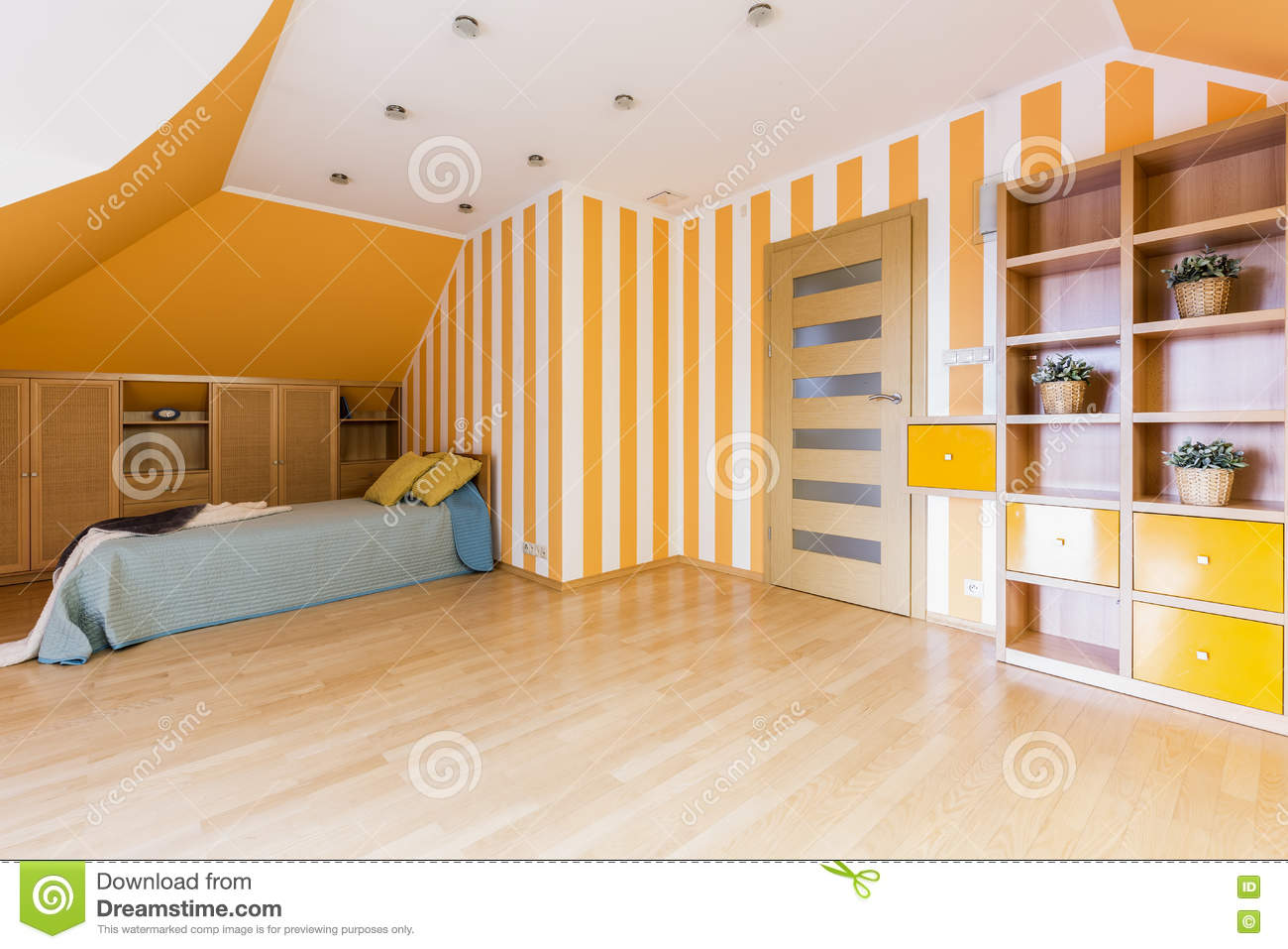 Energetic Bedroom In Orange And White Stock Image - Image of ...