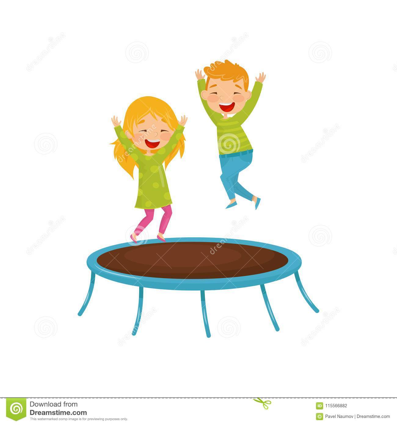 Energetic children jumping on trampoline. Joyful brother and sister having fun together. Flat vector design