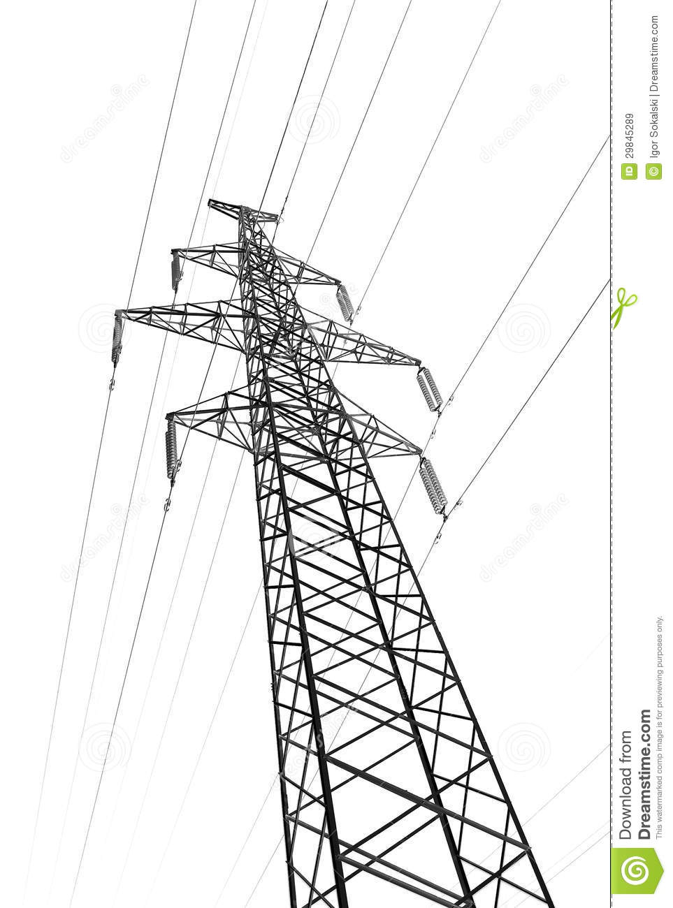 pylon tower power line isolated white royalty free stock