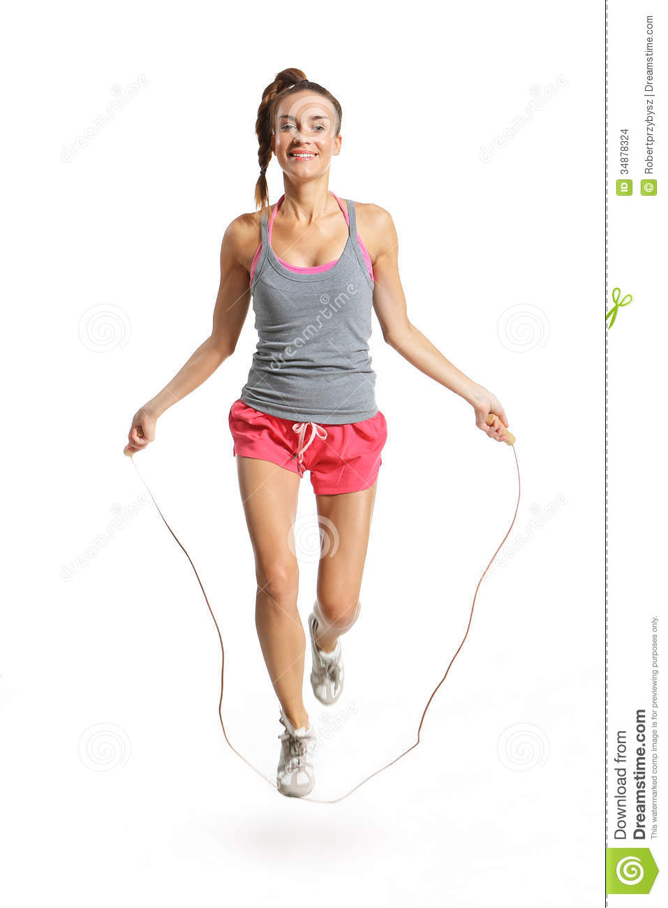 Energetic Woman Jumping Rope Stock Photo - Image: 34878324
