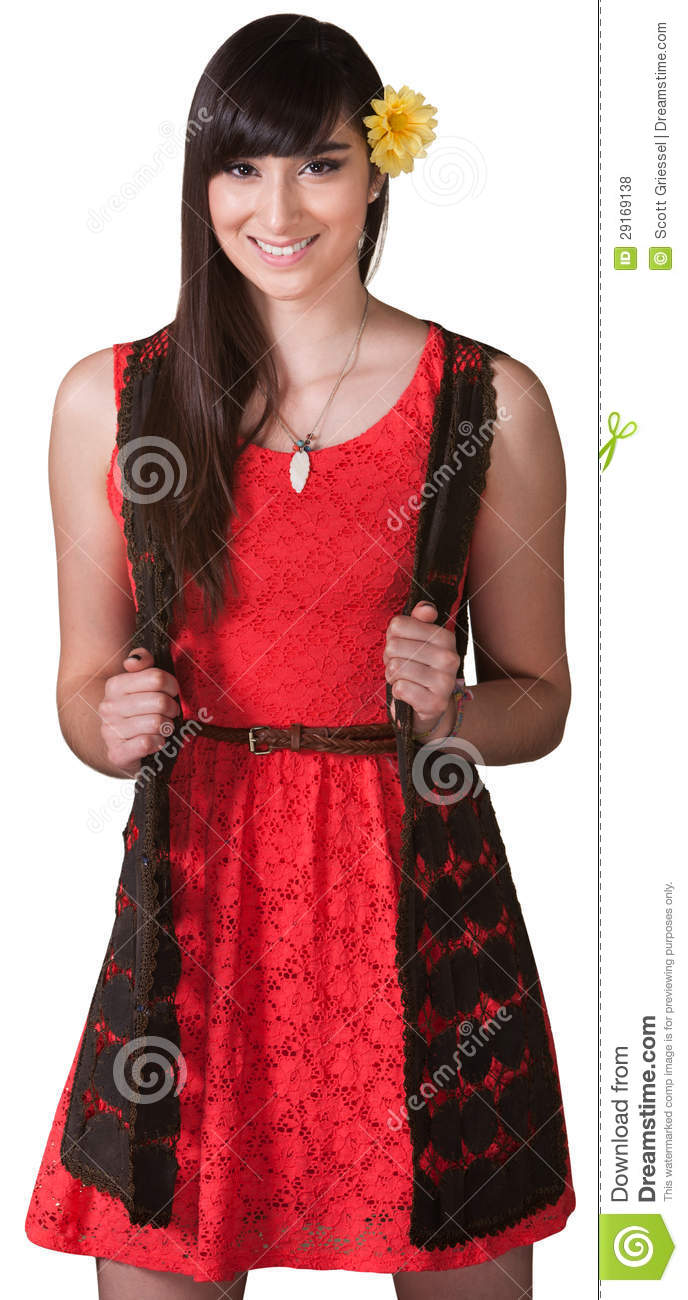 Energetic Young Lady in Red