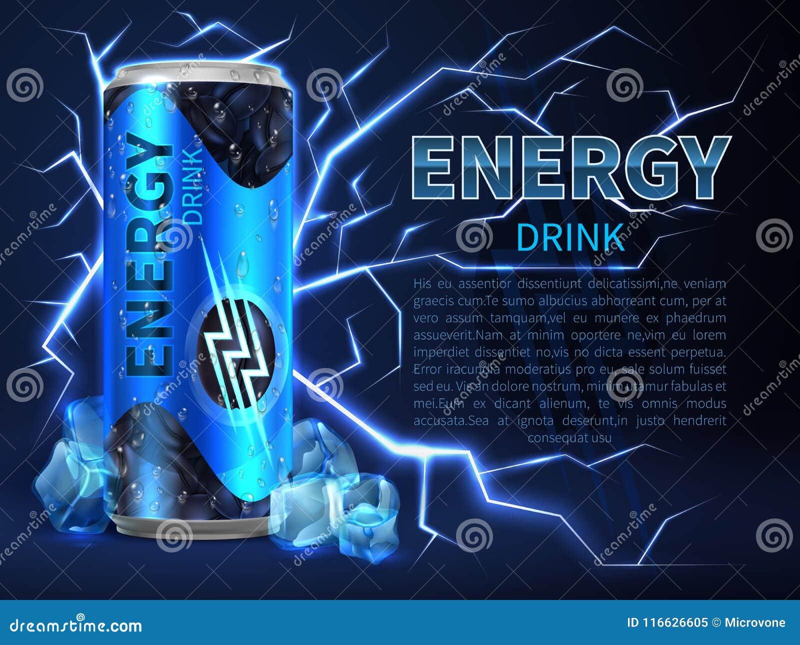 Energetyczny napój może otacza elektryczni rozładowania i iskry na zmroku - błękit Pakować reklamowego wektorowego tło