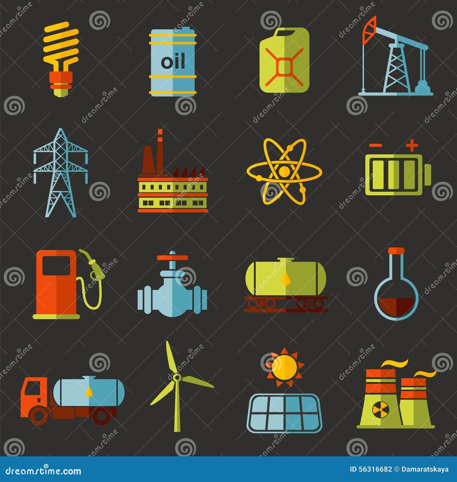 Energi elektricitet, uppsättning för symbol för maktvektorlägenhet