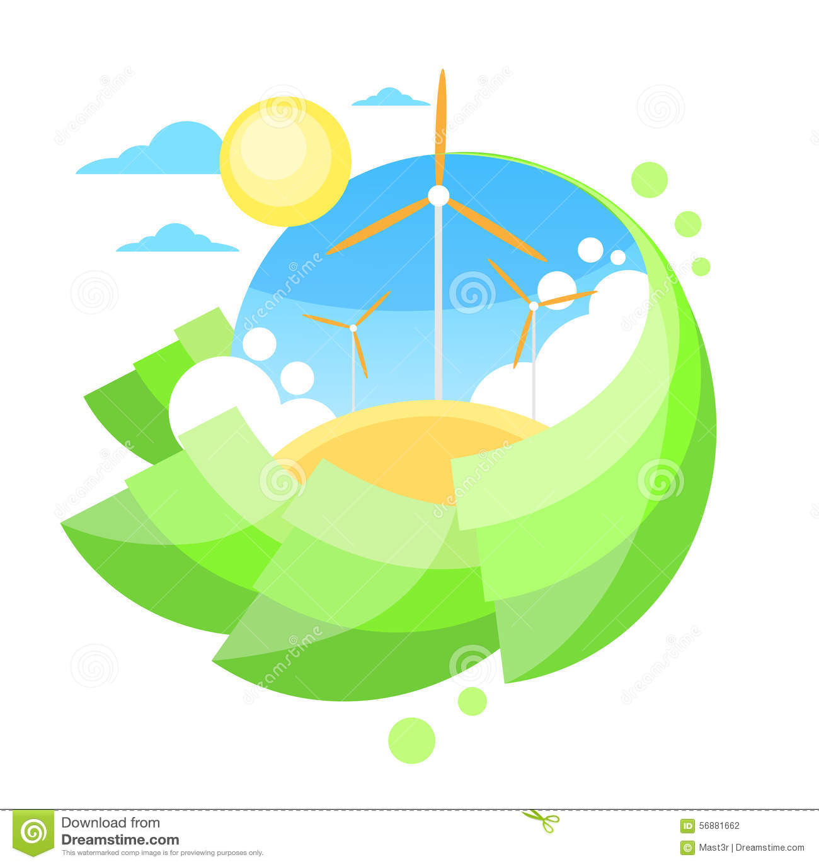 Energia dell erba verde di Sun del cielo blu della torre del generatore eolico