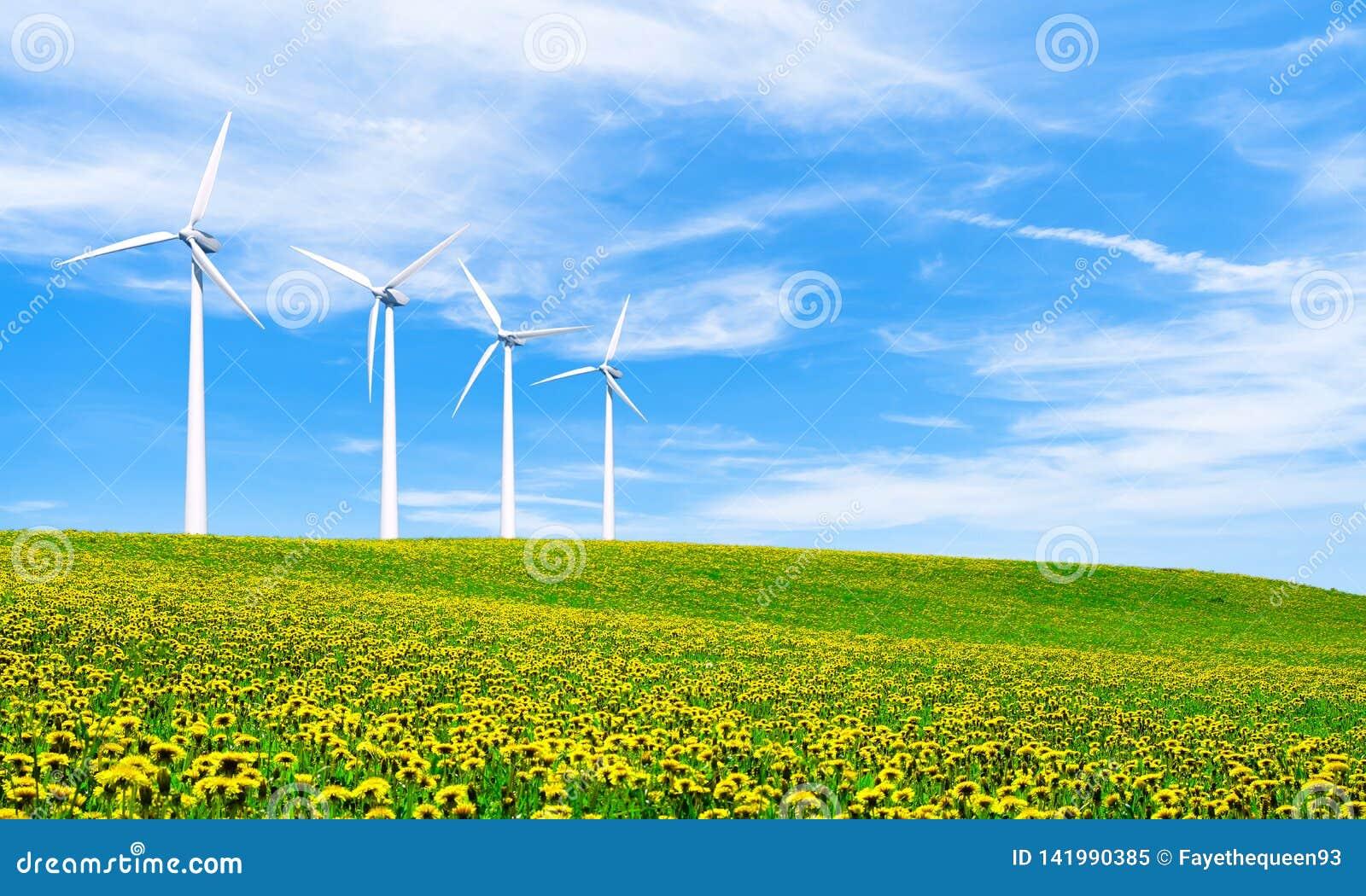 Energia odnawialna z silnikami wiatrowymi Silnik wiatrowy w zielonych wzgórzach