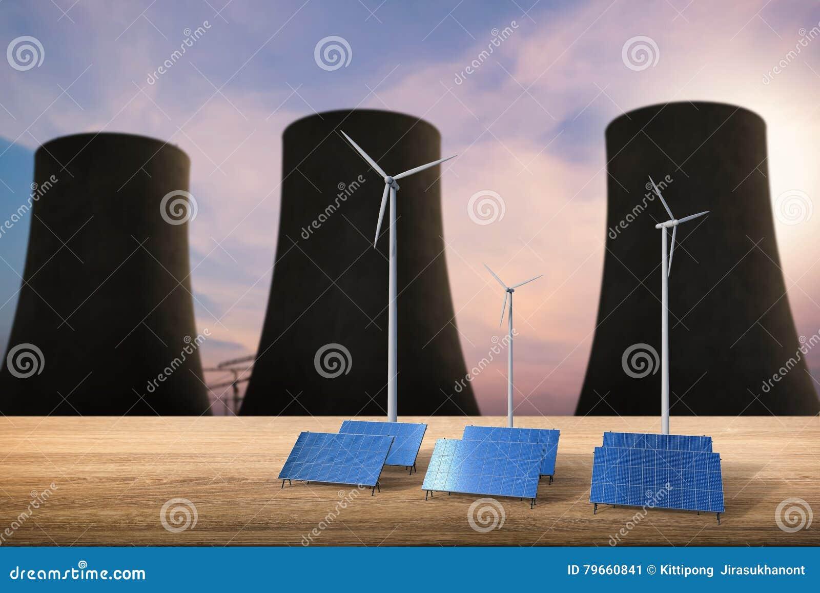 Energibegreppet med sol- celler, vindturbiner och kärn- reagerar