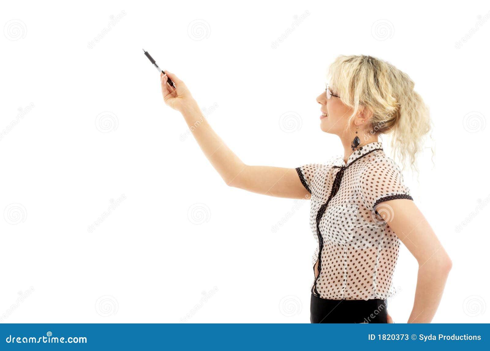 Energiczny bizneswomanu długopis