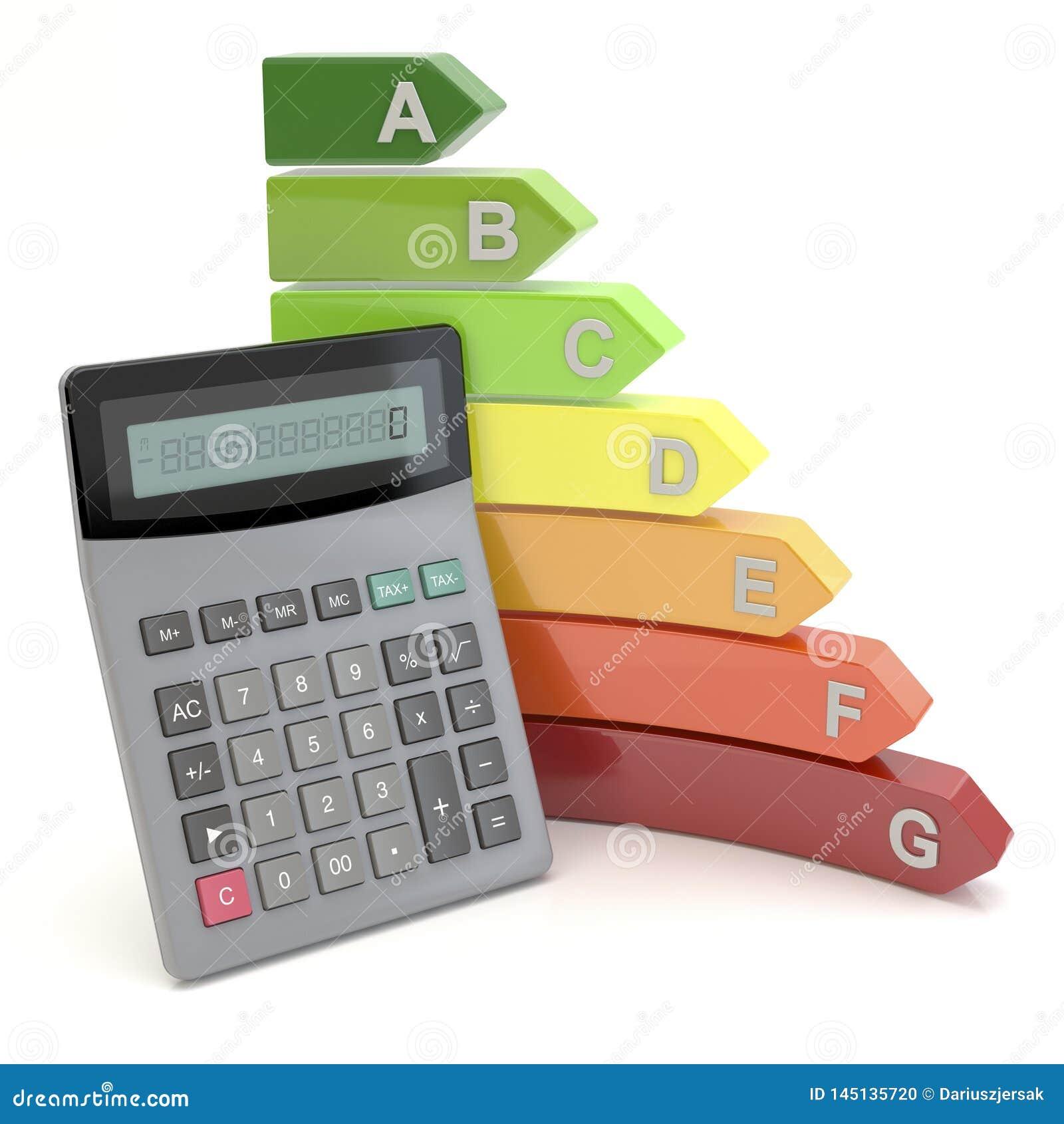 Energierendement en calculator, 3D illustratie