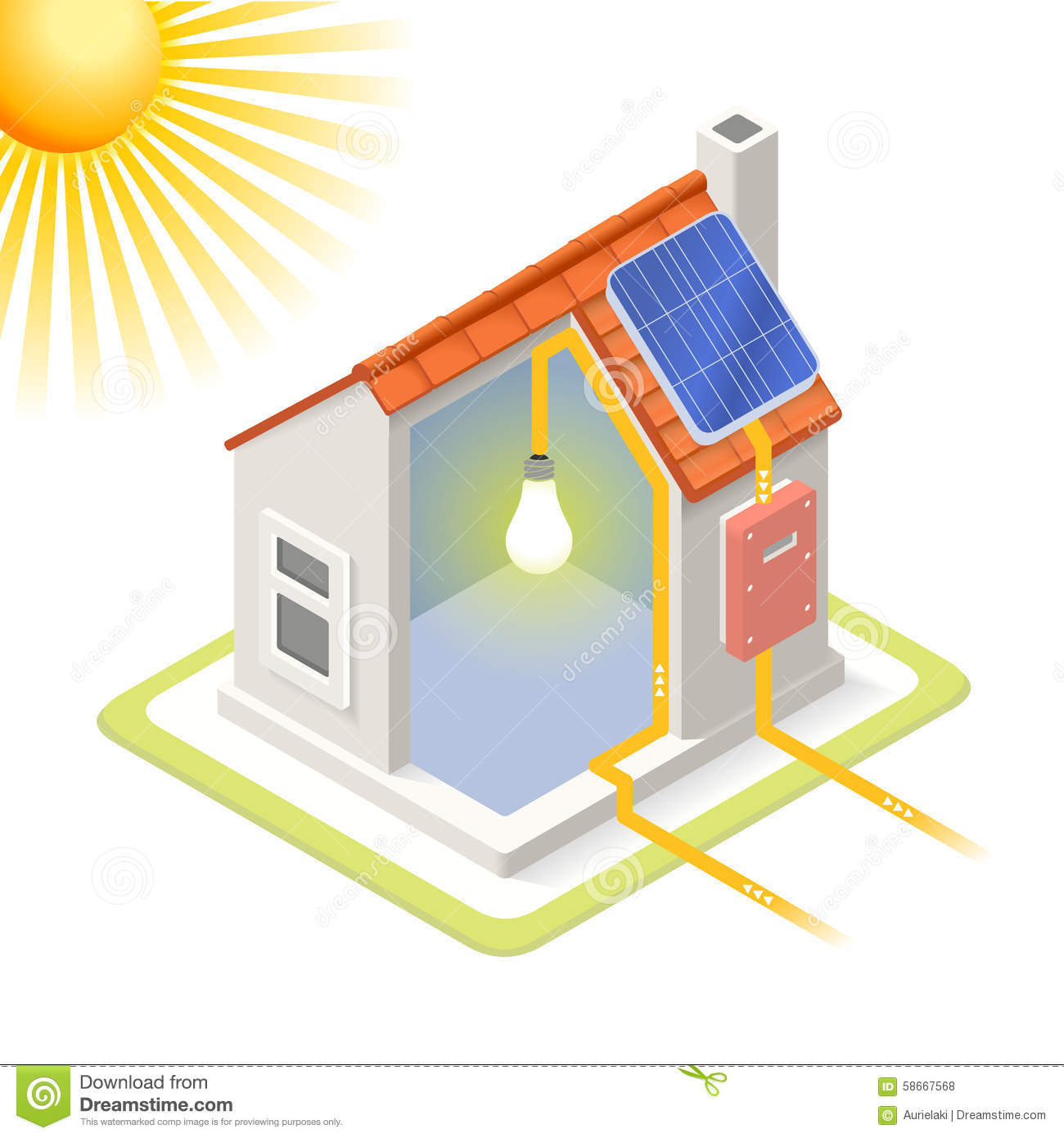 Energy Chain 03 Building Isometric Stock Vector Image