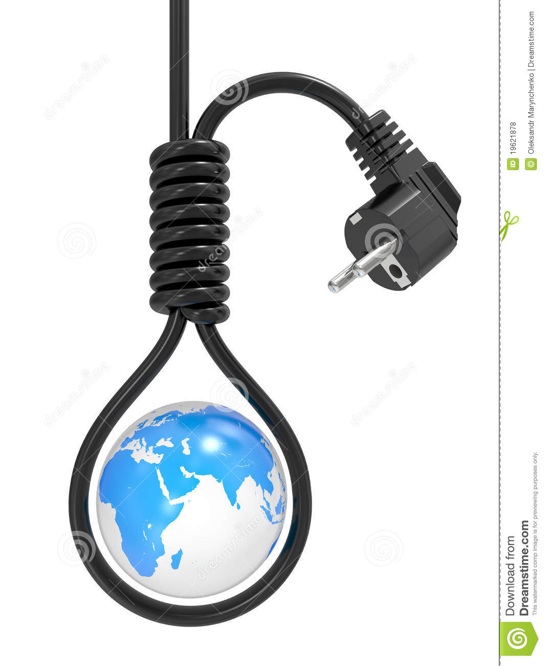 Planet the earth in a loop on the gallows, an energy crisis.