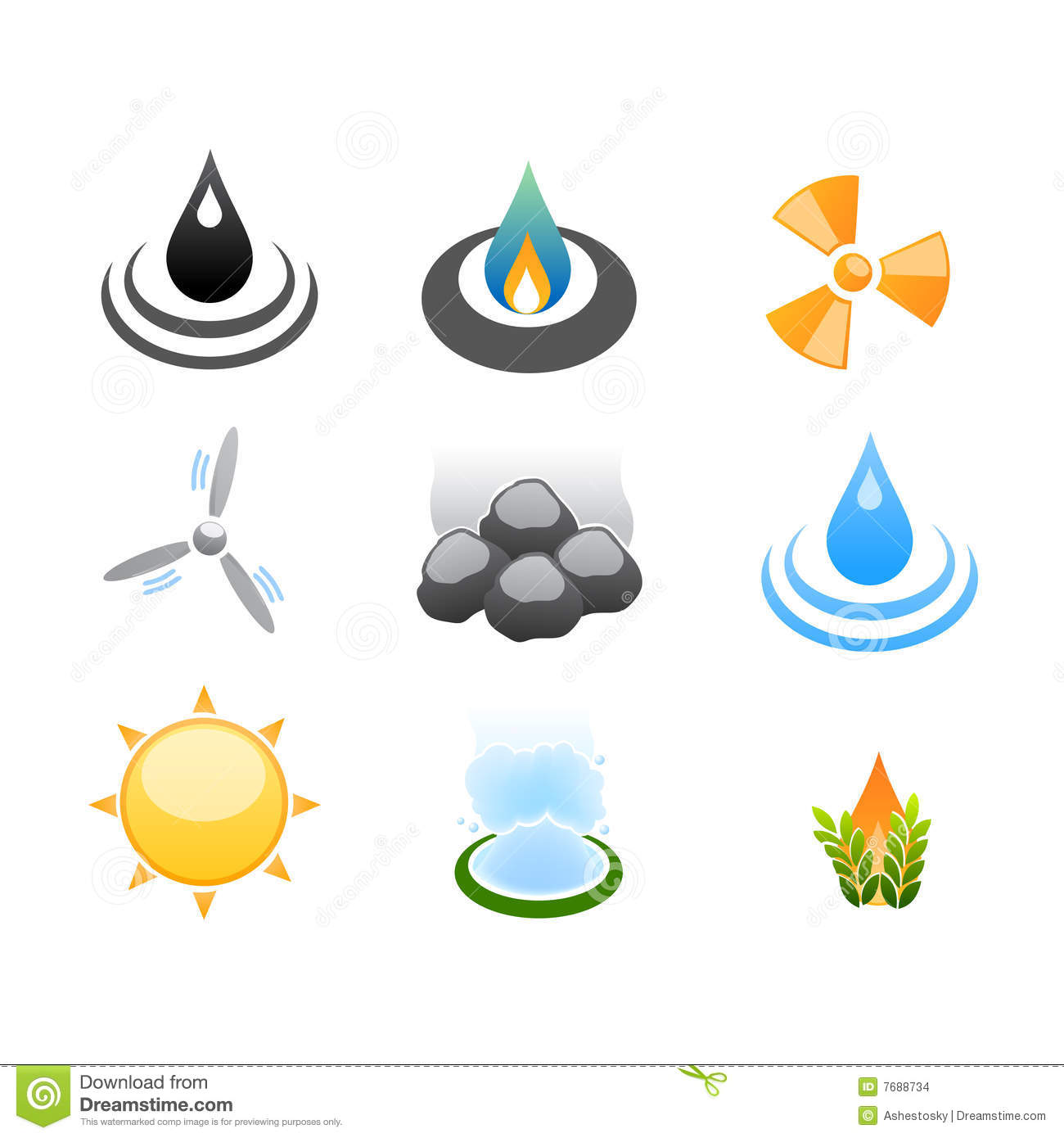 Vector illustrations of stylized energy resources of different kind ...