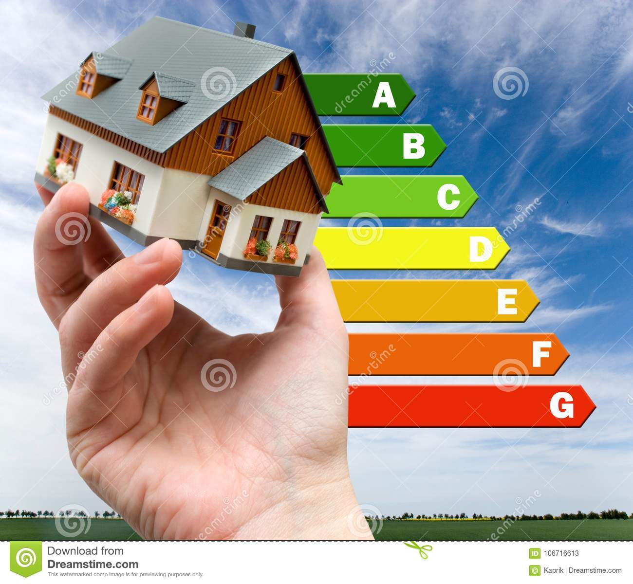 Energy efficiency label for house / heating and emoney savings -