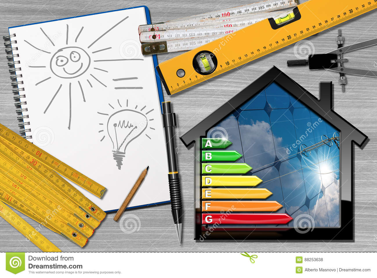 Energy Efficiency Project House With Solar Panels Stock Photo Simple Power Diagram