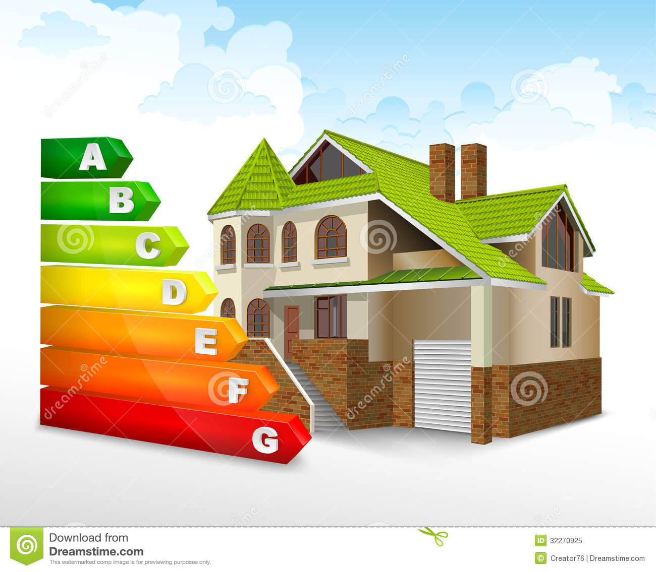 Energy Efficiency Rating With Big House Royalty Free Stock ...