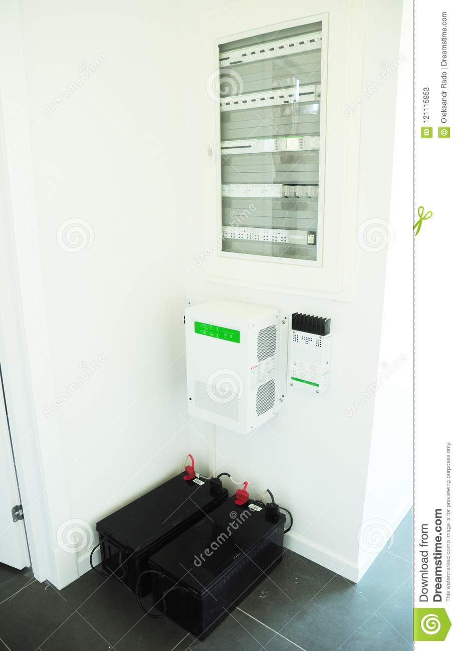 Energy efficiency smart home concept. Accumulating and consumption of of solar electric power at home. Solar panels batteries
