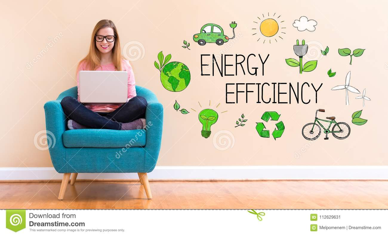 Energy Efficiency with young woman using her laptop