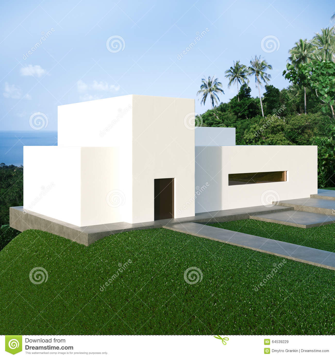 Energy efficient concrete modern house on the hill