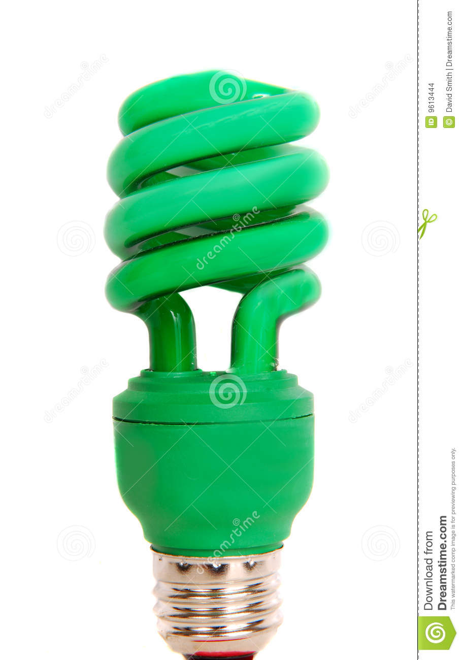 Energy Efficient Green Light Bulb Stock Images Image 9613444
