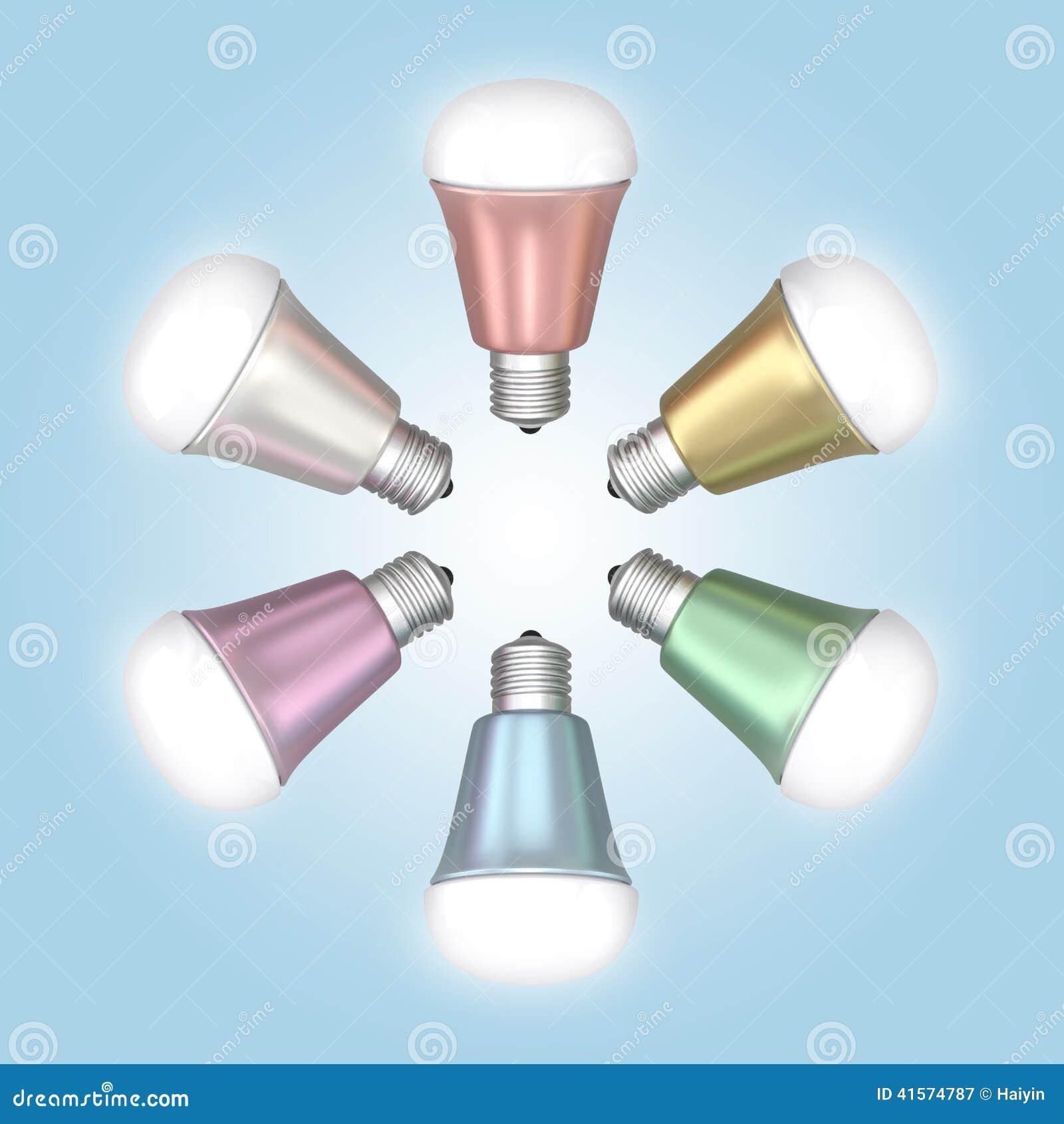 Energy Efficient Led Light Bulbs Arranged In Star Shape Stock Illustration Image 41574787