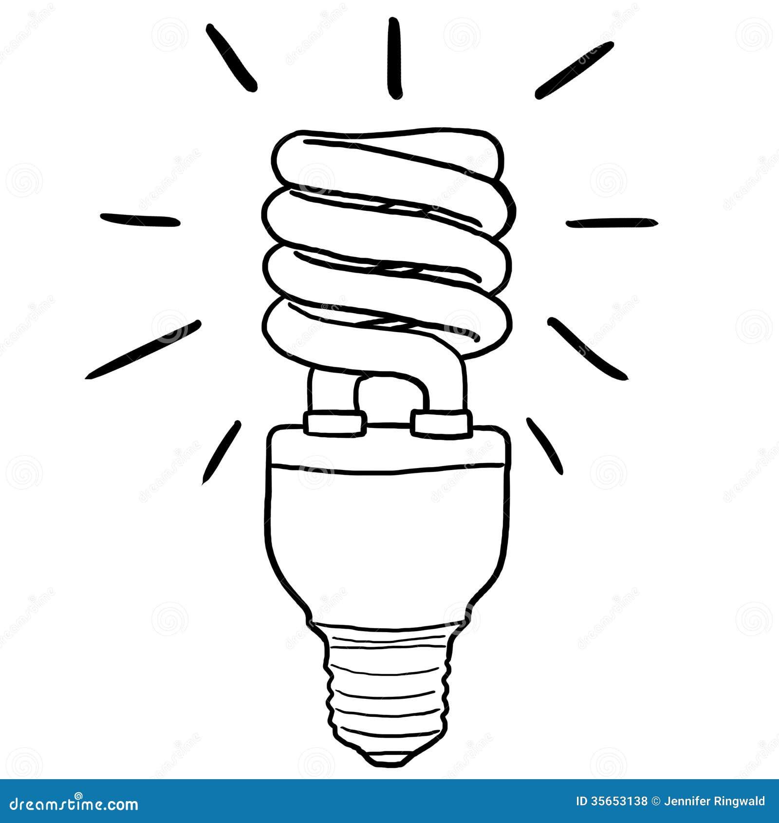 Line Art Light Bulb : Energy efficient light bulb royalty free stock photos