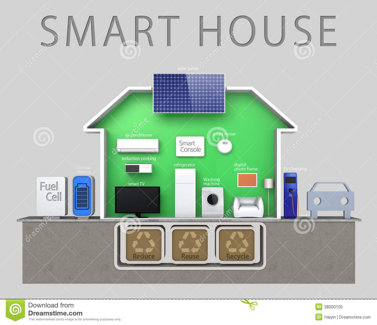 Energy Efficient Smart House Illustration With Tex Royalty
