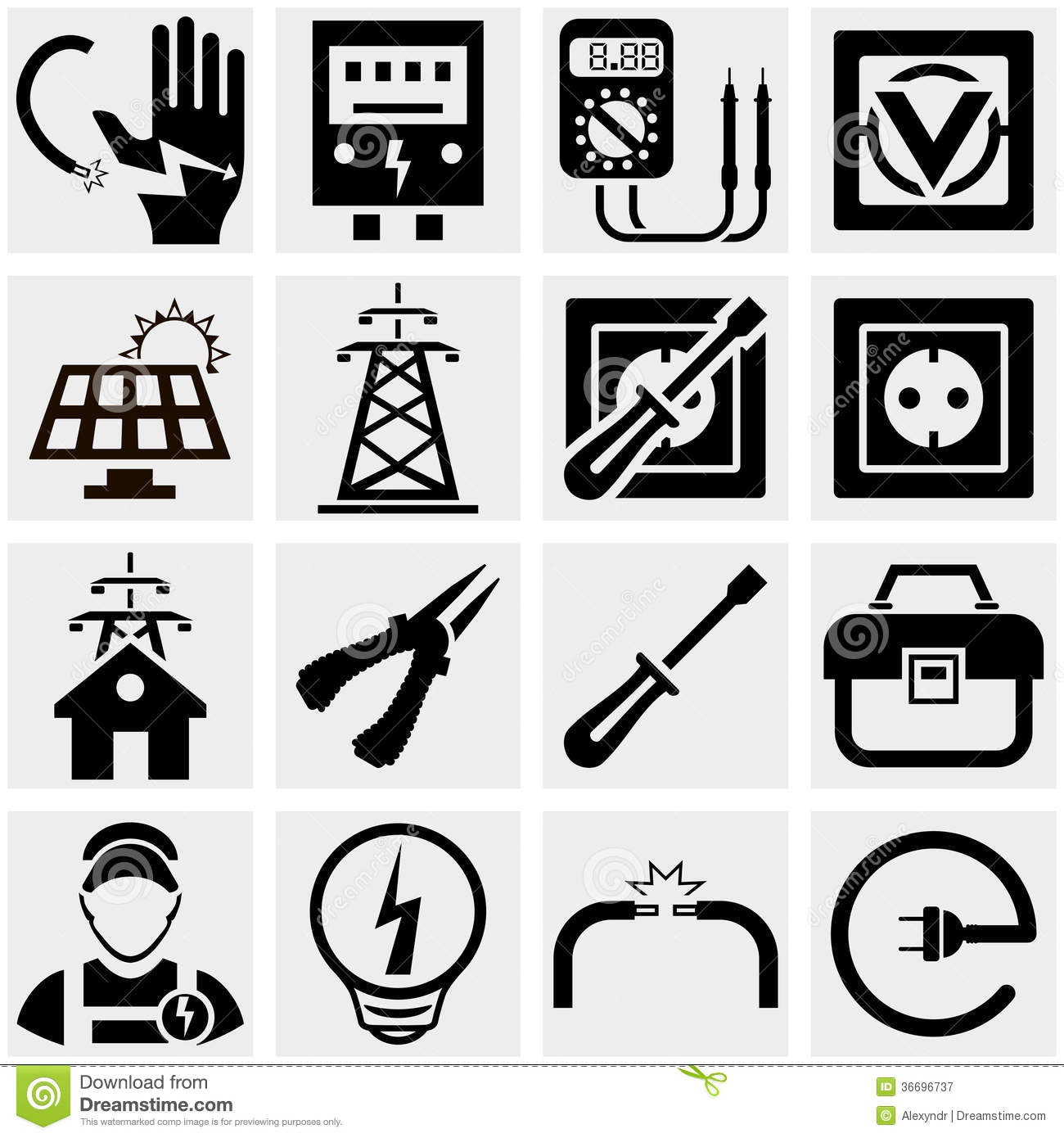 energy  electricity  power vector icons set royalty free electrical test icons