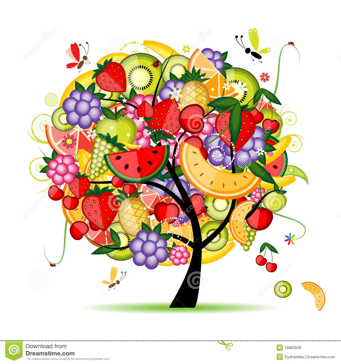 Energy Fruit Tree For Your Design Royalty Free Stock ...