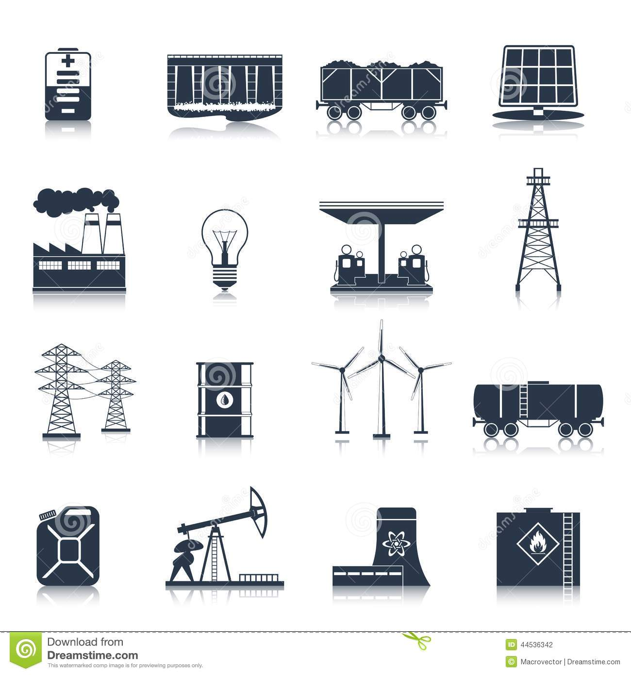 Light Industrial Gas Turbine: Energy Icons Black Set Stock Vector