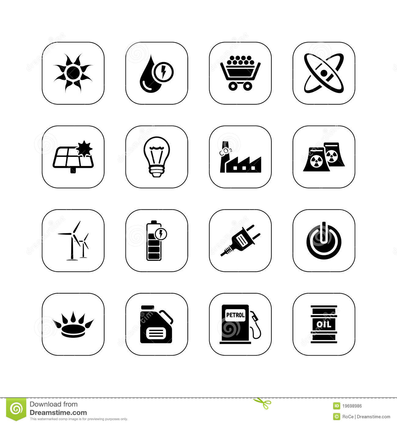 energy icons - bw series royalty free stock image