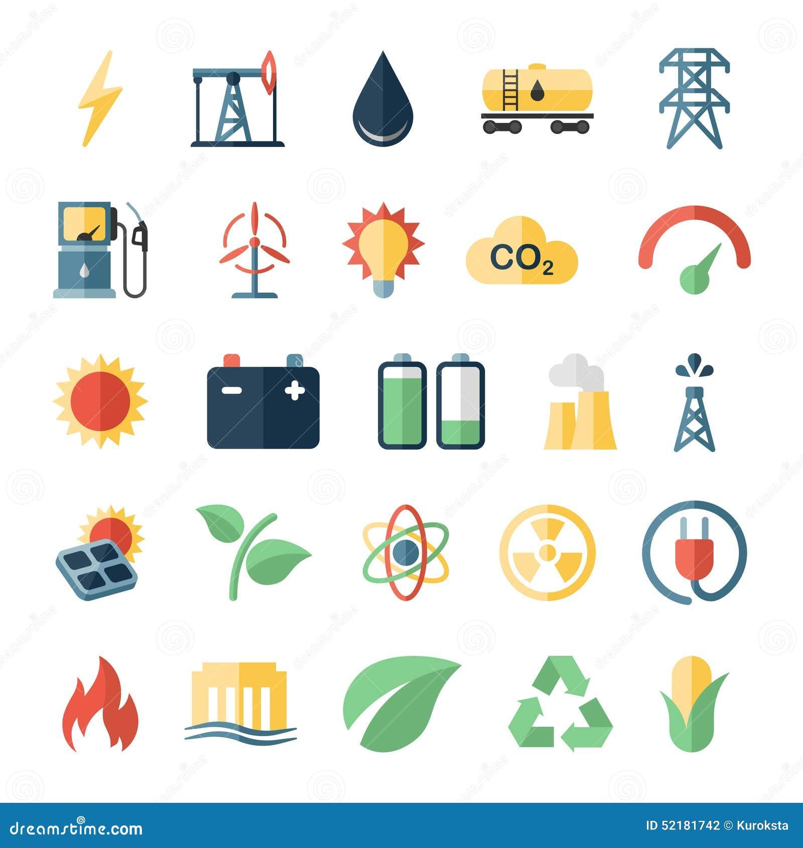 Energy Power Flat Icons Set Of Solar Panels Wind Stock Vector - Image ...