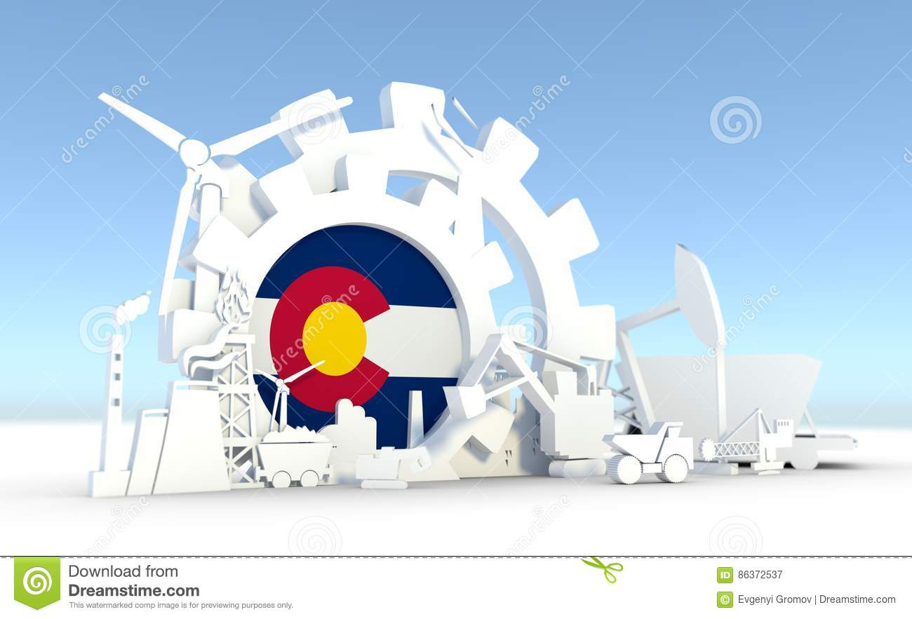 Energy and Power icons set with Colorado flag