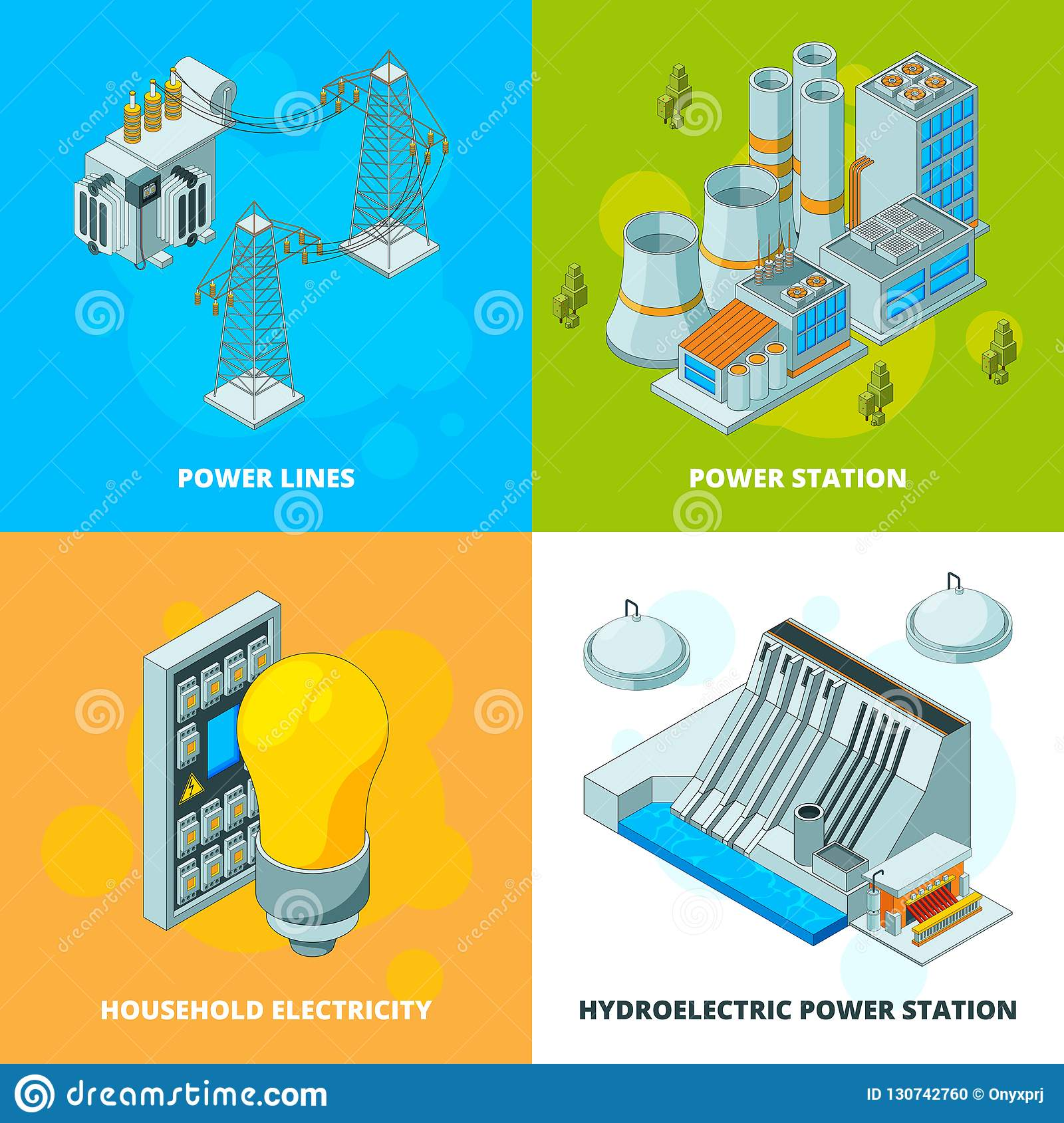 Energy power stations. Electrical symbols generator high voltage transmission vector isometric concept pictures