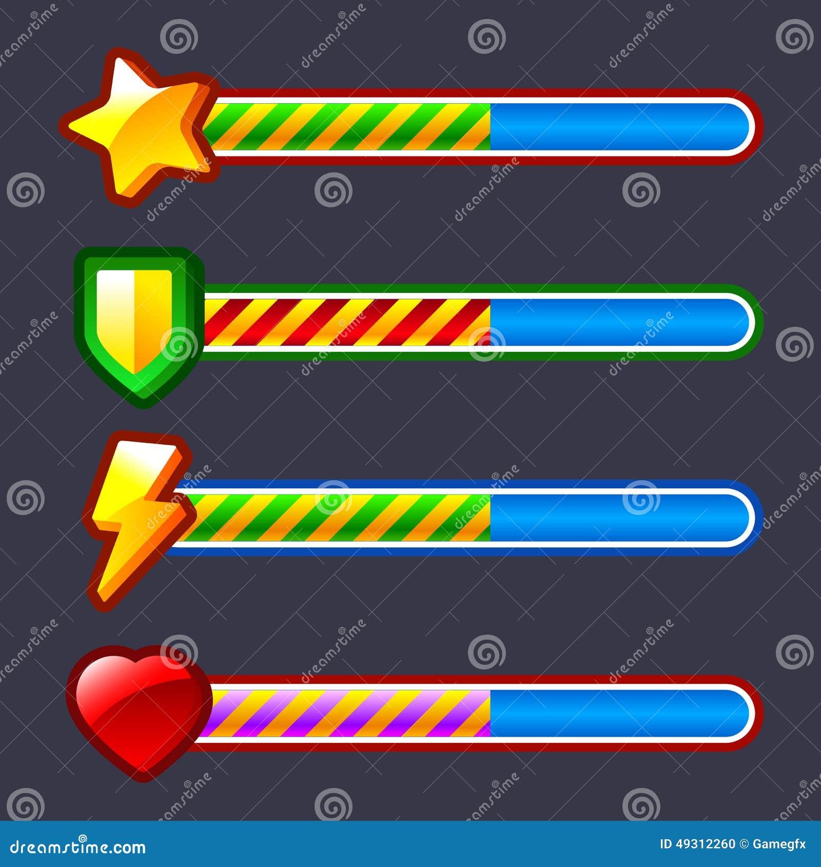 Energy Progress Loading Game Bar Set Stock Vector Image