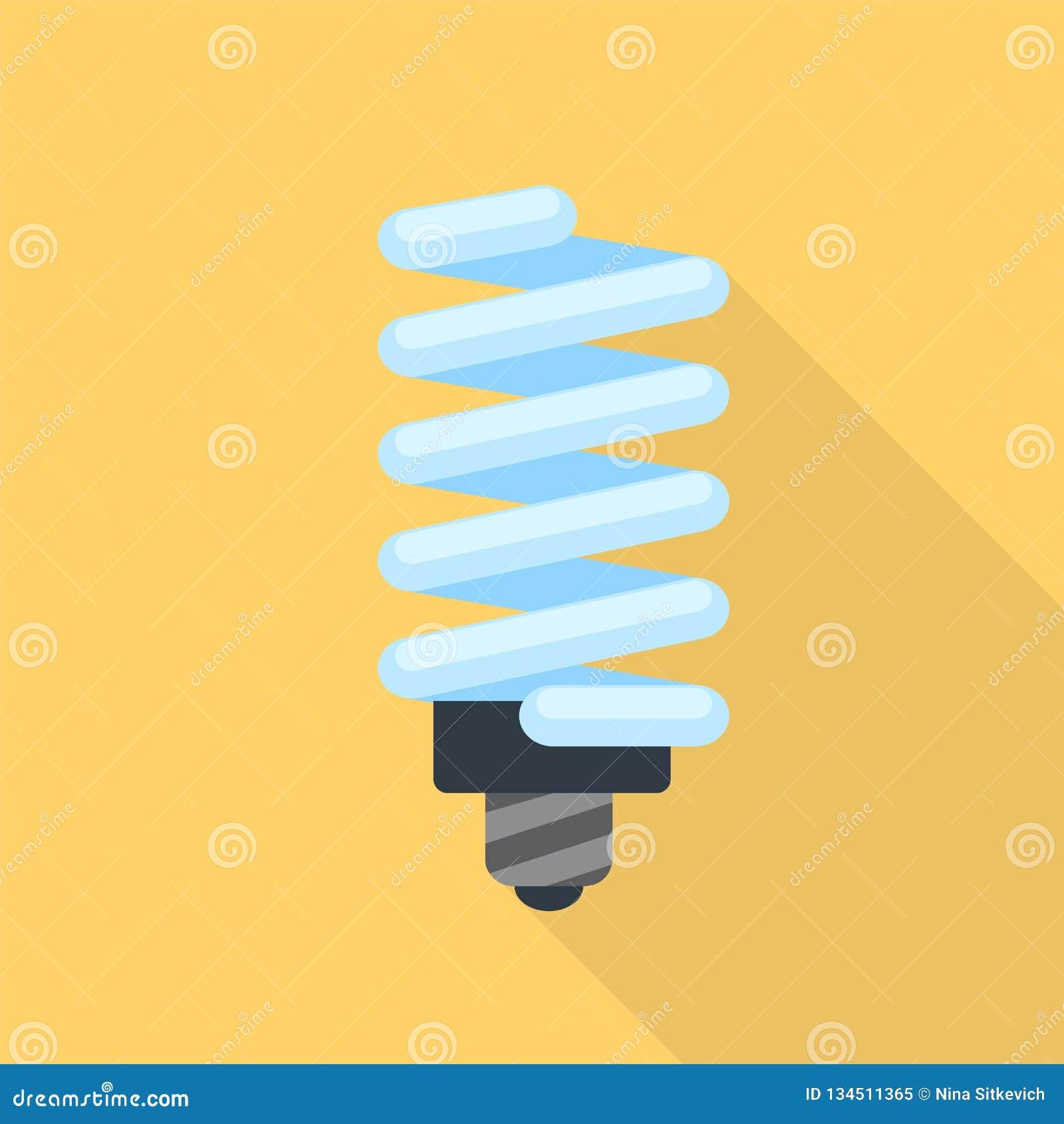 Energy saving bulb icon, flat style