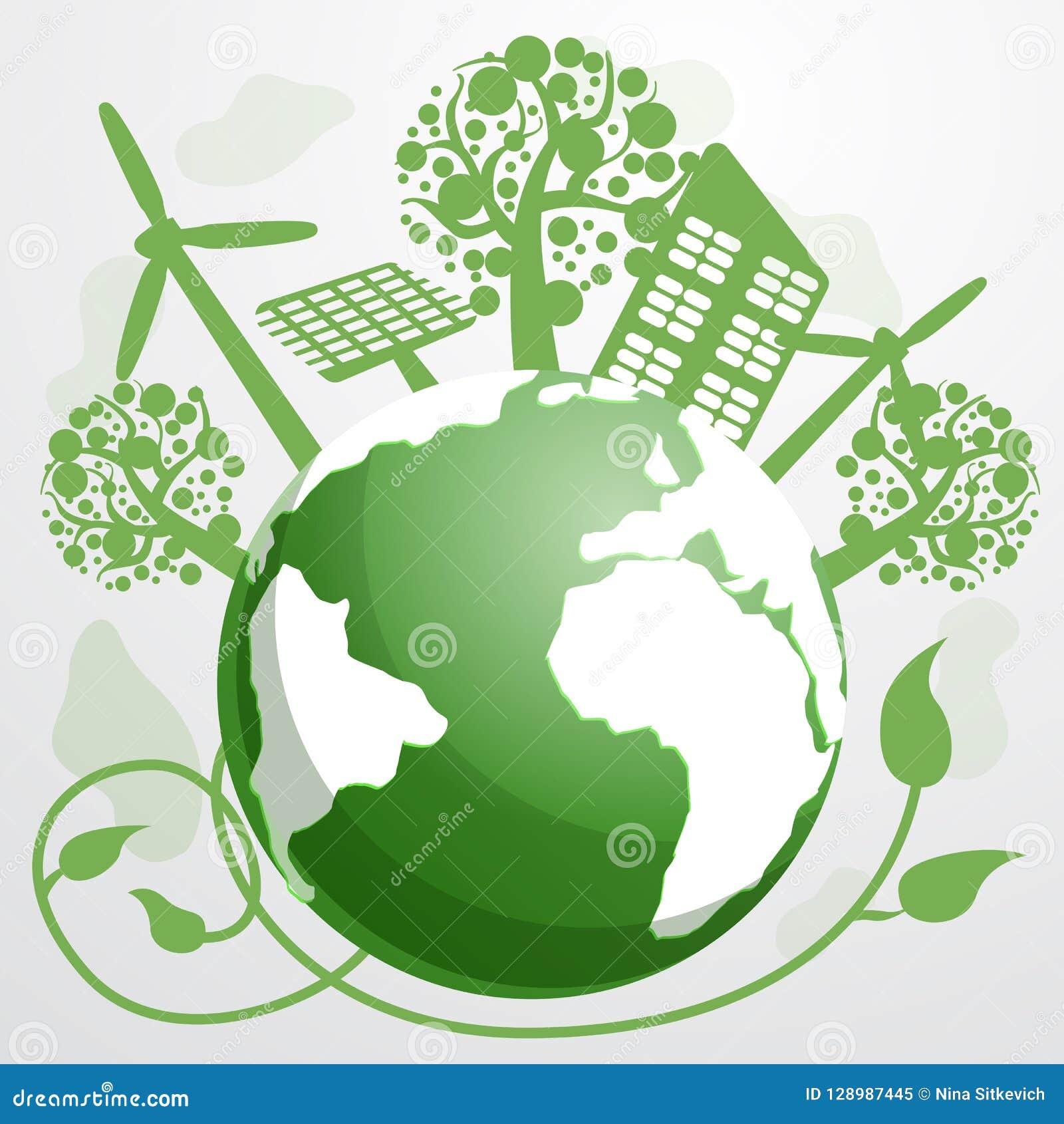 Energy saving concept background, cartoon style