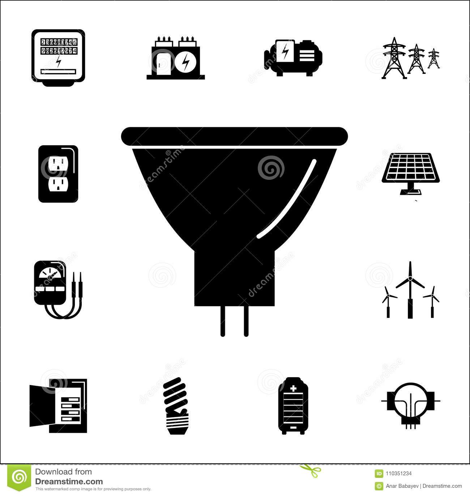 Energy Saving Fluorescent Light Bulb Icon Set Of Energy Icons