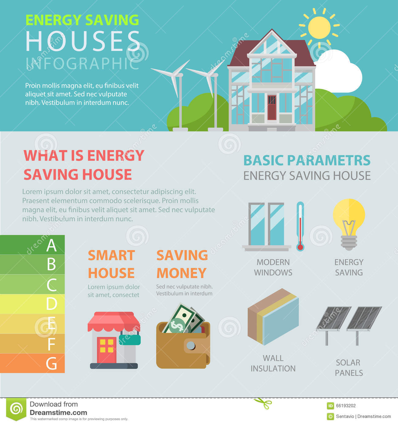 Energy Saving House Flat Vector Infographic Smart Home