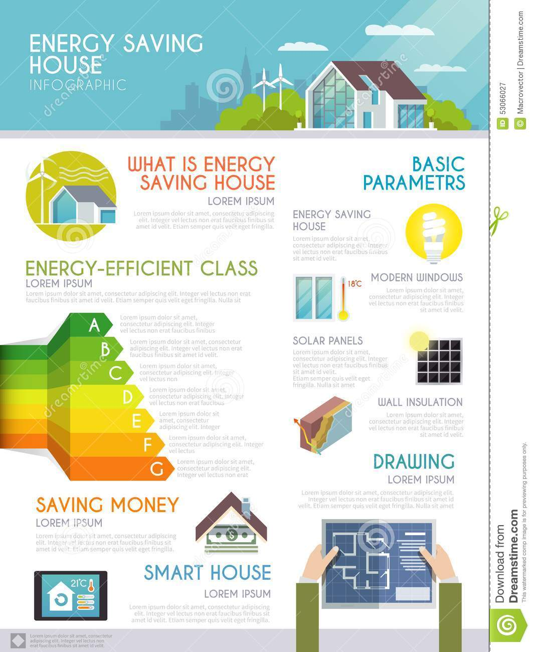 Energy Saving House Infographics Stock Vector Image