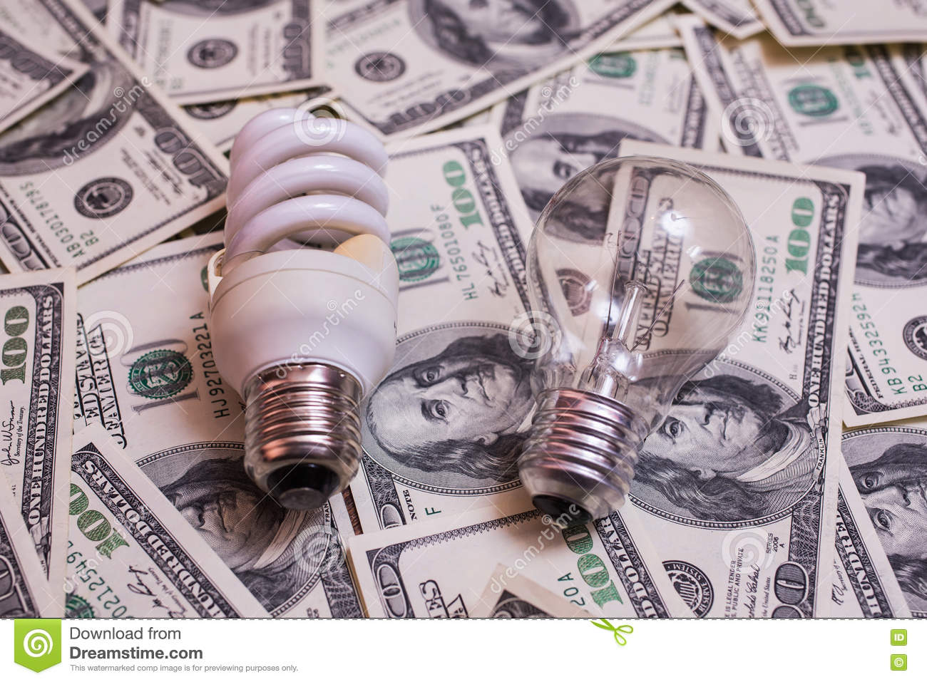 Energy Saving Light With Incandescent Lamps Stock Image ...