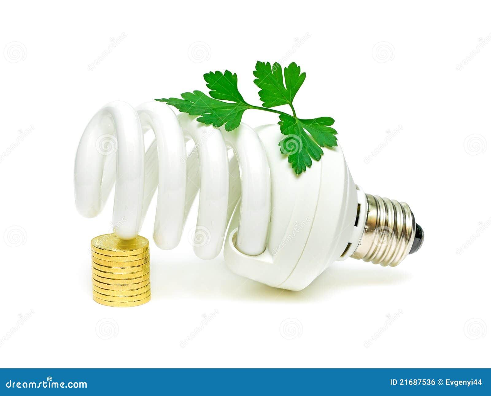 Energy Saving Light Bulb And A Green Plant Stock Photo Image Of
