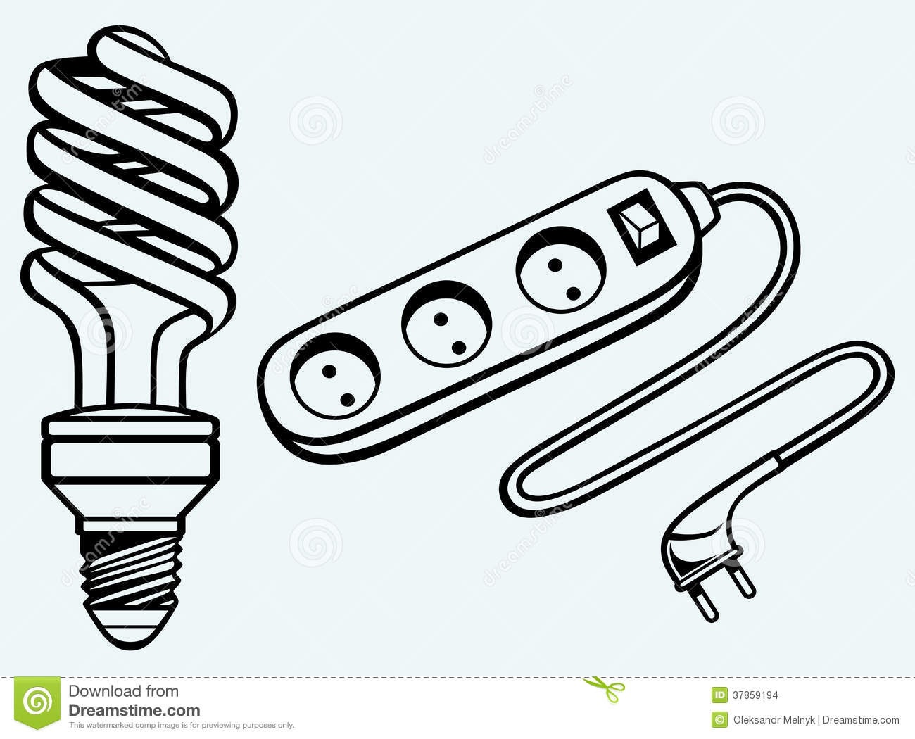 energy saving light bulb and power surge stock vector