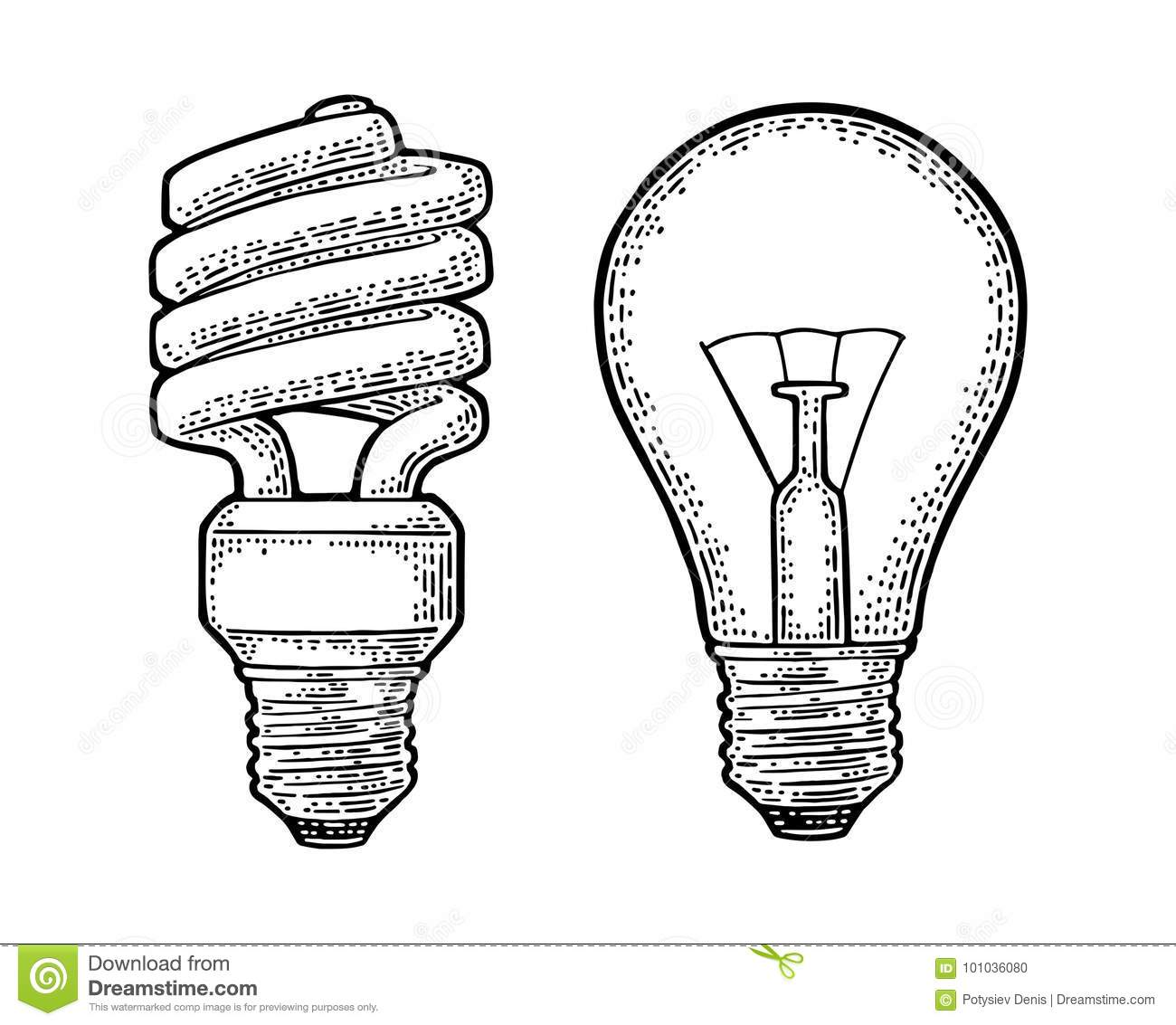 Energy saving spiral lamp and glowing light incandescent bulb. Engraving