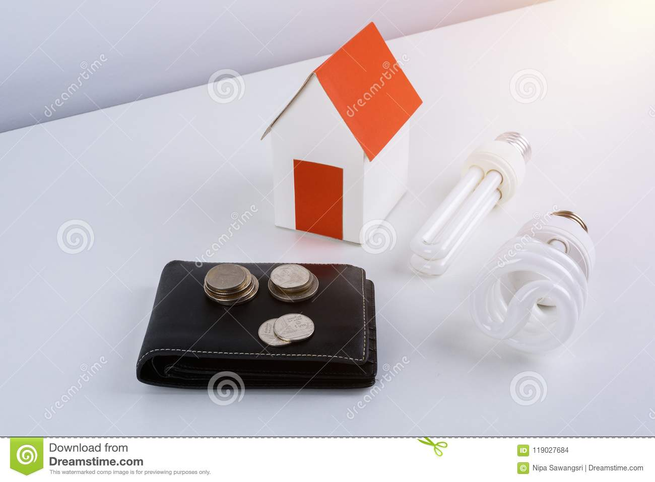 Energy Savings Lamp With Wallet And Coins, Paper House Model. Stock ...