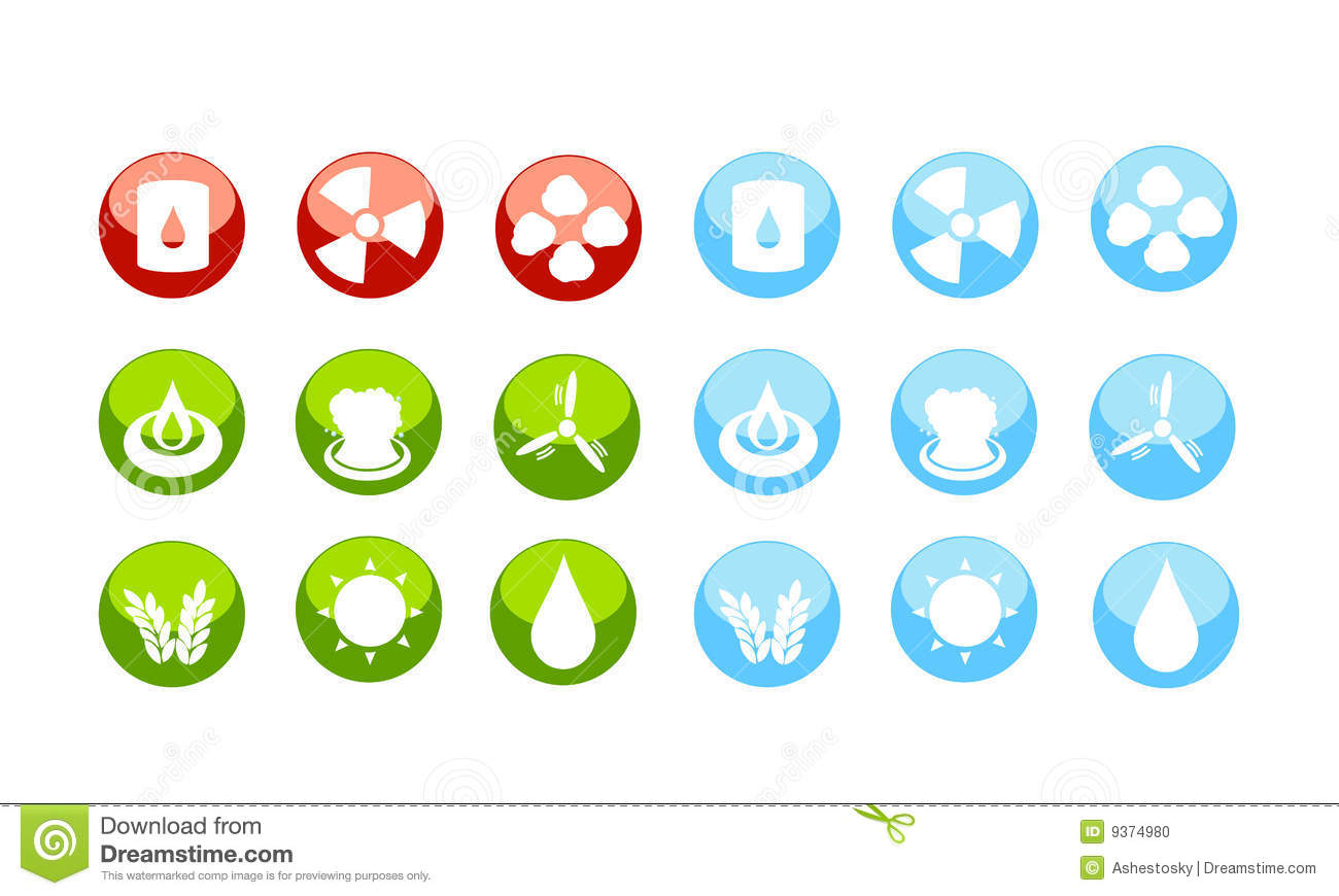 Energy Sources Icon Set By Danger Stock Photo - Image: 9374980