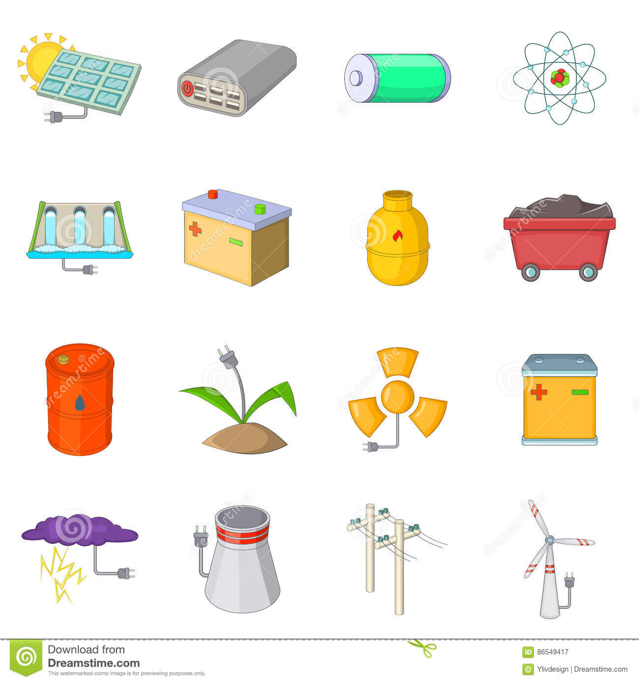 Energy Sources Items Icons Set Cartoon Style Stock Vector