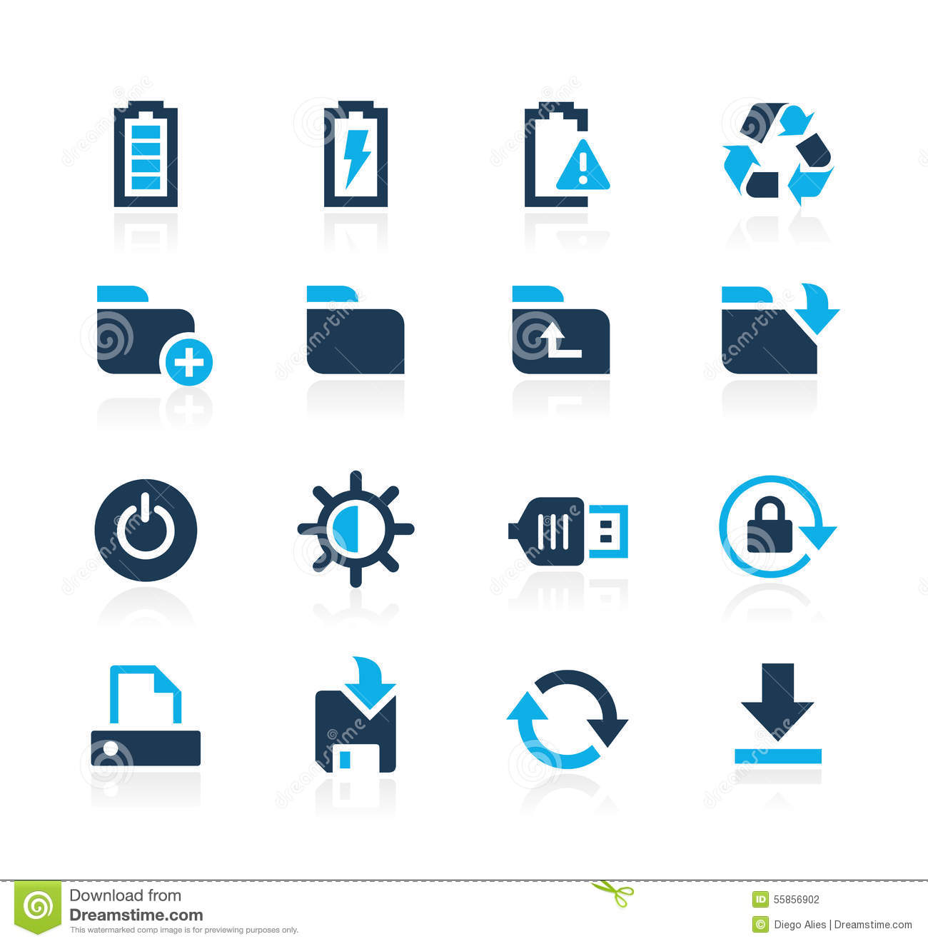 Energy And Storage Icons Azure Series Stock Vector Illustration Of Battery Mobile 55856902