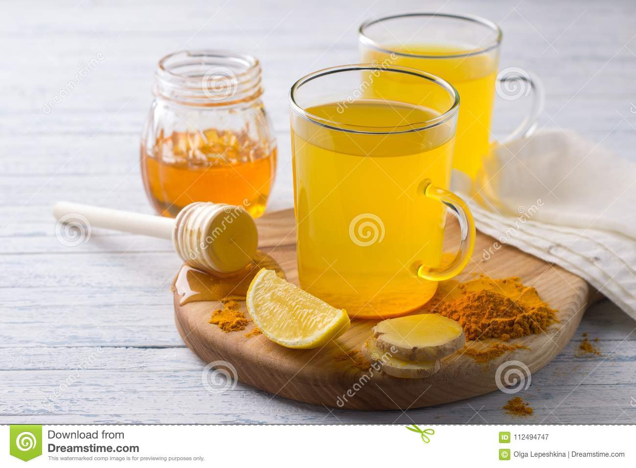 Energy Tonic Drink With Turmeric Ginger Lemon And Honey