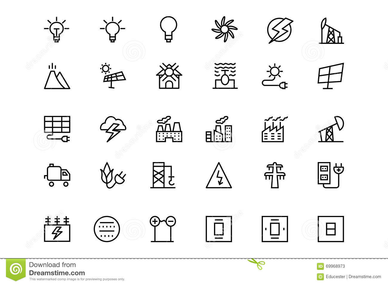 Energy Vector Line Icons 3 Stock Illustration Image