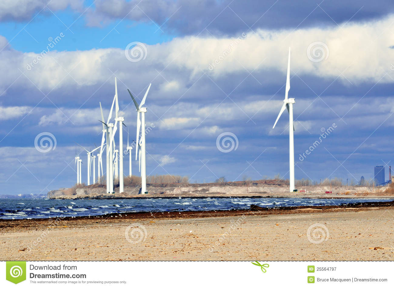 Energy Windmills along the Lke Erie shoreline near Buffalo New York.